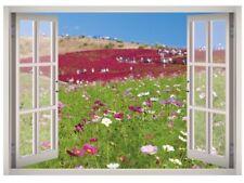 Wildflowers View Window 3D Wall Decal Art Mural Home Decor Canvas Vinyl W104