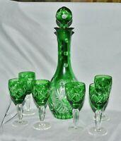 Art Deco Sherry Set Likörset Karaffe + 6 Gläser, Bleikristall, grün, geschliffen