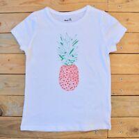 Girl's White Short Sleeve Pineapple Print T-Shirt Style Top UK Age 5 6 Years