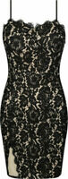 Tally Weijl Women's Black Nude Lace Bodycon Dress Size M Medium New With Tags