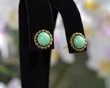 Antique CHINESE JADE Button 14K GOLD Stud Pierced EARRINGS