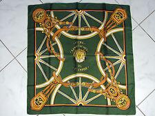 Foulard carré soie vintage Balmain?, motifs hippiques, pas signé, D - 78 x 75 cm