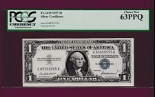 Fr.1619  PCGS  $1  1957   SILVER CERTIFICATE NOTE TWO DIGITS SN G 85555555 A
