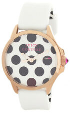 Juicy Couture Women's White & black Dial White Rubber Strap Watch 1901223