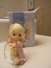 2006 Precious Moments Ornament Girl Finding Kitty In Christmas Stocking #690068
