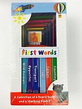 Baby's First Words Early Learning Set of 6 Board Books & 6 Stacking Blocks - New