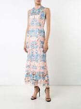 Marchesa Notte Floral Dress Guipure Lace Gown Blush Blue Embroidered  $1295 Sz.2