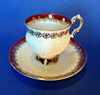 Elizabethan Pedestal Tea Cup And Saucer - White With Dark Red And Gold - England