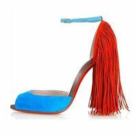 Onlymaker Women's Fringe Peep Toe Stiletto High Heels Sandals Ankle Strap Shoes