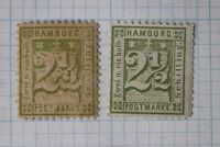 Germany Hamburg sc#23, 23b mi#14 cv$205 Mint MNH MNG fault