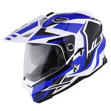 1Storm DOT Dual Sport Dual Visor Motorcycle Motocross Full Face Helmet Blue