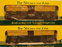 S-HELPER SHOWCASE LINE S SCALE TWO  CHICAGO NORTHWESTERN WOODSIDE STOCK CARS