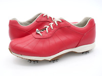 Footjoy Womens 6.5M Red Embody Waterproof Leather Lace Up Golf Shoes