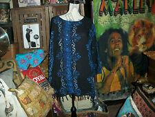 "MEETU MAGIC ""The African Scene"" Regal Blue+Black  Sequin  Tunic Size 1X"
