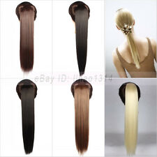 Women's Hair Ponytail Clip on Hair Extensions Drawstring Long Straight Synthetic