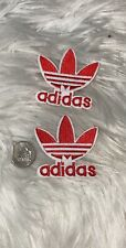 Set Of 2 Adidas Logo Trefoil/ Emblem Embroidered Iron On Patches! Red And White