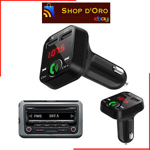 KIT VIVAVOCE FM SD MP3 USB PER AUTO BLUETOOTH SMARTPHONE CARICABATTERIE TABLET