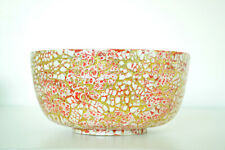 Handmade Decorative Bamboo Bowl Lacquered & Inlaid With Eggshell Pink-Gold H071M
