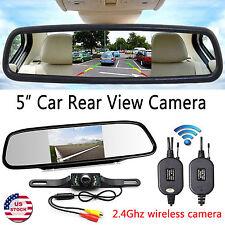 "Car Rear View Kit 5"" LCD Mirror Monitor +Wireless IR Reversing Backup Camera"