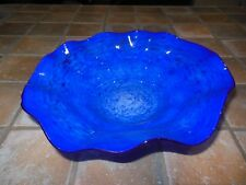 Bohemian Cobalt Blue  & White swirl pattern artist signed Gently formed bowl