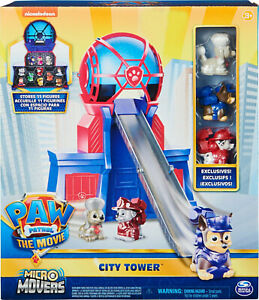 PAW Patrol The Movie City Tower with 3 Toy Figures Micro Movers - EXCLUSIVES