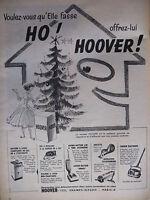 PUBLICITÉ DE PRESSE 1956 NOËL AVEC HOOVER MACHINE A LAVER FER - ADVERTISING