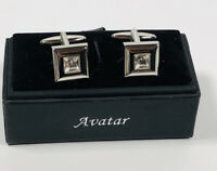 Vintage Avatar Cufflinks Silver Tone & Sparkly Crystal Boxed Excellent Condition