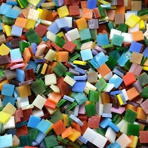 10mm Square Opaque Stained Glass Mosaic Tiles For Crafts Supply DIY  200 Pieces