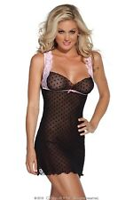 Coquette Kissable Lingerie, Polka Dot Chemise, Black & Pink, One Size / 8-14.