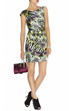 KAREN MILLEN Green Purple White Stretch Silk Ruched Draped Marble Print Dress 6
