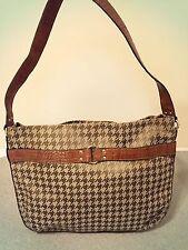 Large Vintage Liz Claiborne Green Brown Houndstooth Shoulder Bag Purse Hobo