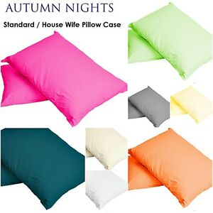 Plain Dyed Pillow Cases  Covers 2 X Luxury Percale Quality Polycotton Housewife