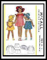 McCall 7813 1930's Girl's FROCK DRESS & Floppy HAT Pattern GIRL TODDLER sz ~2~
