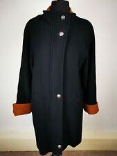 AVOCA Coat Black w. Terracotta Detail Cashmere Wool Mix Size 16