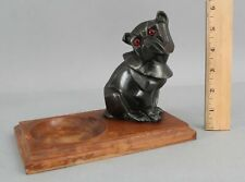 Small Antique Art Deco Period Spelter Metal Figural Bulldog Glass Eyes Wood Tray