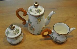 Mackenzie Childs Stacked Yellow Roses Enamel Teapot Creamer Sugar- New