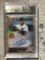 2017 BOWMAN CHROME GLEYBER TORRES ORANGE SHIM REFRACTOR AUTO #/25 BGS 9.5/10!