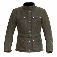 MERLIN ASHLEY LADIES WAX COTTON MOTORCYCLE JACKET OLIVE BROWN X-SMALL