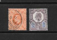 1902 King Edward VII SG294 5d. & SG240 4d. 2 Stamps Fine Used GREAT BRITAIN