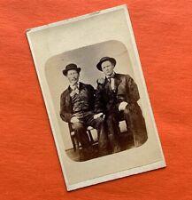 Unusual TWO FRIENDLY Men CDV PHOTO Philadelphia PA CIVIL WAR Tax GAY INTEREST