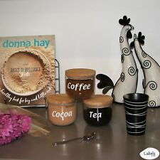 Set of Custom Vinyl Labels / Decals for Tea, Coffee & Sugar Canisters