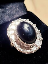BLACK ONEX STERLING SILVER SF Cabochon Setting LADYS RING SIZE 7 US