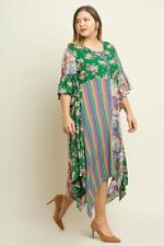 4620446d714 NEW Umgee Plus Size Boho Floral Striped Print Bell Sleeves Button Maxi Dress  XL