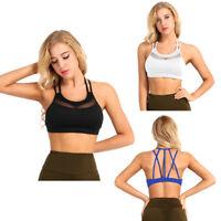 Women Racerback Fitness Yoga Padded Bra Stretch Workout Sports Bra Tank Crop Top