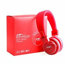 Bluetooth Headphone Micro SD TF Card, Audio MP3 Music Player FM Radio (Red)