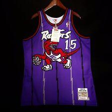 100% Authentic Vince Carter Mitchell Ness Raptors Purple Jersey Size 48 XL hwf