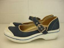 Womens 7.5 8 sz 38 Dansko Blue White Valerie Canvas Vegan Clogs Shoes Mary Jane