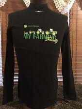 "Unisex NWOT JOHN DEERE L Large Black ""My Farming Family"" LS T-Shirt"