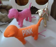 set of 3 Victoria secret plush dogs - gold, pink, orange