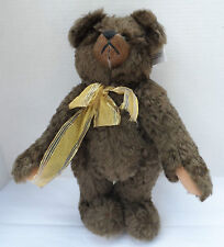 "Winey Bear by Sally Winey 14"" Signed Brown Bear with Gold Ribbon"